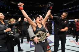 LAS VEGAS, NV - DECEMBER 30:  Amanda Nunes of Brazil reacts to her victory over Ronda Rousey in their UFC women's bantamweight championship bout during the UFC 207 event at T-Mobile Arena on December 30, 2016 in Las Vegas, Nevada.  (Photo by Josh Hedges/Zuffa LLC/Zuffa LLC via Getty Images)
