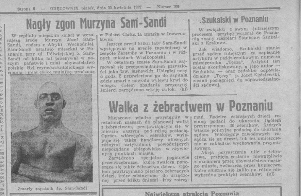 Informacja prasowa o śmierci Sama Sandiego, polona.pl